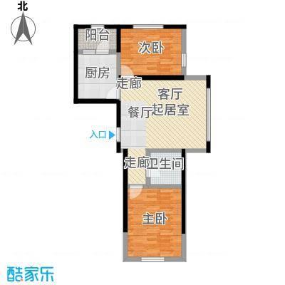 长禹星港湾2室1厅1卫户型2室1厅1卫