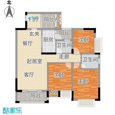 东兴边贸中心北仑华府户型3室2卫1厨