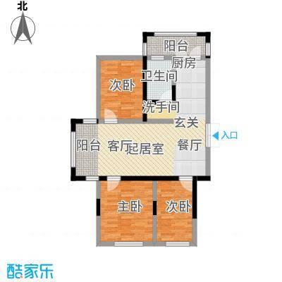 长禹星港湾三室一厅一卫 使用面积67.09平方米户型3室1厅1卫