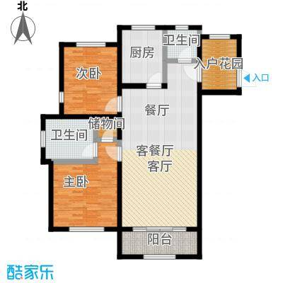绿地大溪地100.19㎡二室二厅二卫户型2室2厅2卫