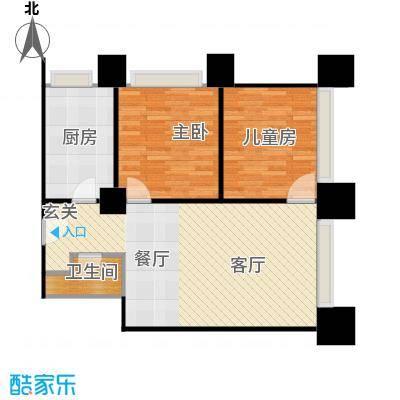首创漫香郡公寓标准层A4户型图2室1厅1卫1厨户型2室1厅1卫