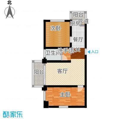 金豪斯经典二期F户型二室二厅一卫使用面积54.01平米户型2室2厅1卫