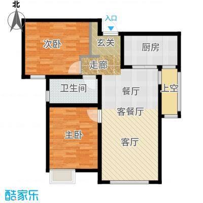 保利香颂湖87.00㎡高层G户型 阔景香居户型2室2厅1卫