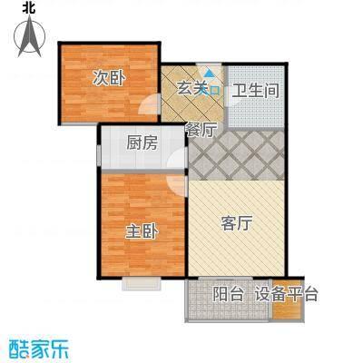 首创漫香郡11/12/13/16#楼B户型标准层户型图2室2厅1卫1厨户型