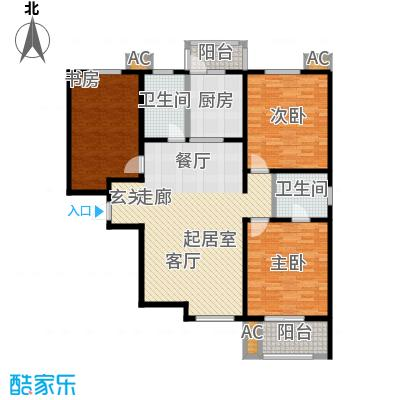 汇博阳光水岸134.99㎡9号楼C1 三室两厅两卫户型3室2厅2卫