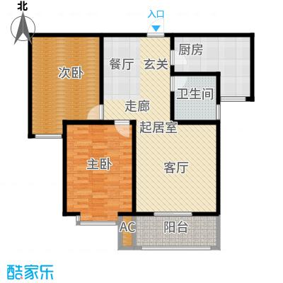 汇博阳光水岸105.10㎡9号楼A2 两室两厅一卫户型2室2厅1卫