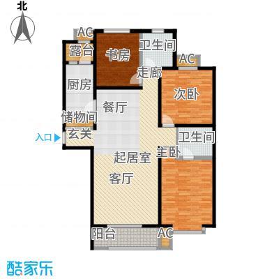 汇博阳光水岸134.00㎡9号楼A1 三室两厅两卫户型3室2厅2卫