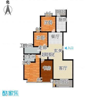 汇博阳光水岸162.11㎡8号楼B 两室两厅两卫户型2室2厅2卫