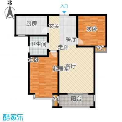 汇博阳光水岸108.88㎡8号楼A2两室两厅一卫户型2室2厅1卫