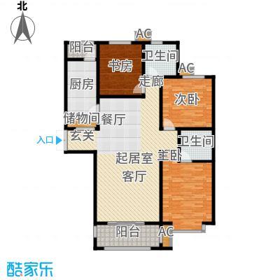 汇博阳光水岸136.56㎡8号楼A1 三室两厅两卫户型3室2厅2卫