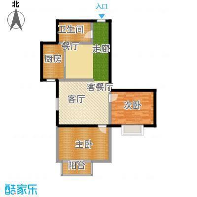 翰林雅居94.30㎡两室两厅一卫户型