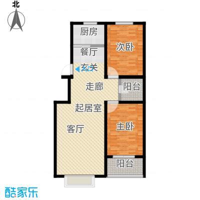 丽景花园99.76㎡D户型两室两厅一卫户型
