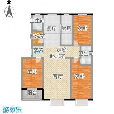 丽景花园139.69㎡C户型三室两厅两卫户型