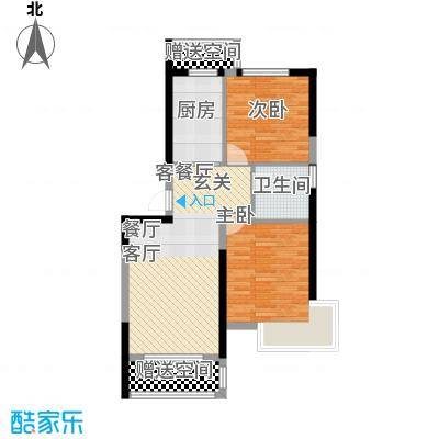 中铁人杰水岸89.00㎡瞰湖高层15# 二室二厅一卫户型2室2厅1卫