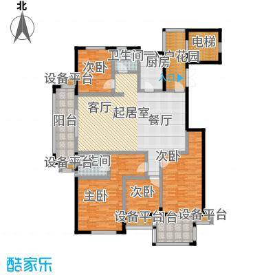 书香园176.10㎡四室两厅两卫户型