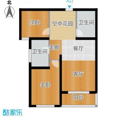 顺平水木清华77.33㎡两室两厅一卫户型2室2厅1卫