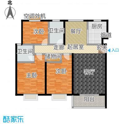自然居家园124.00㎡C2型 三室两厅两卫一厨户型