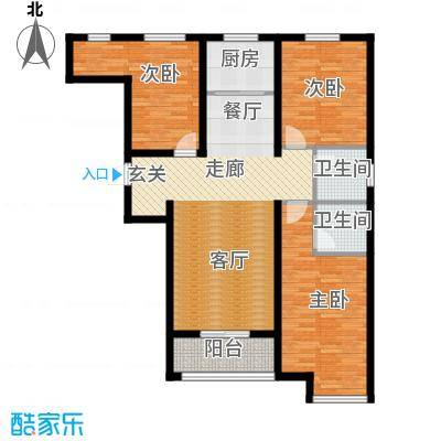 顺平水木清华114.64㎡三室两厅两卫户型3室2厅2卫