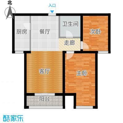 顺平水木清华85.27㎡两室两厅一卫户型2室2厅1卫