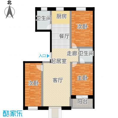 唐县丽景花园134.91㎡A1户型三室两厅两卫户型3室2厅2卫