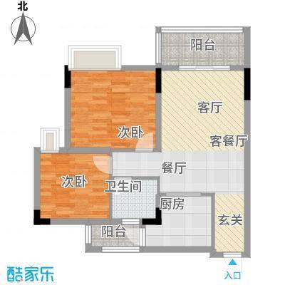 友田碧云轩77.69㎡1-5栋2-7层03单位户型2室1厅1卫1厨
