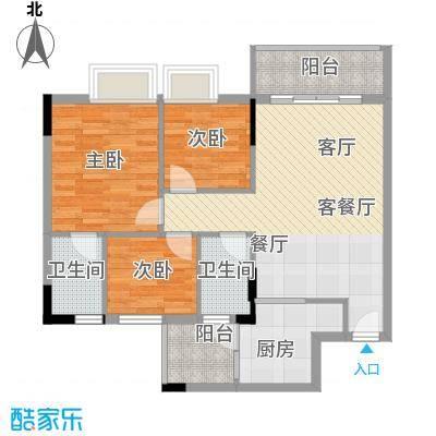 友田碧云轩91.15㎡6-11栋2-10层03单位户型3室1厅2卫1厨