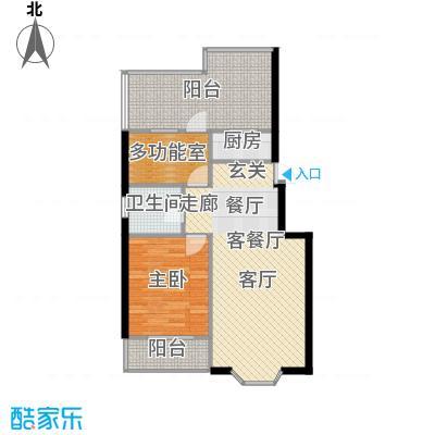 欧韵华庭80.82㎡A户型两室两厅一卫户型2室2厅1卫