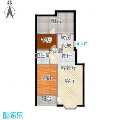 欧韵华庭81.13㎡B户型两室两厅一卫户型2室2厅1卫