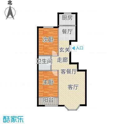 欧韵华庭99.08㎡E户型两室两厅一卫户型2室2厅1卫