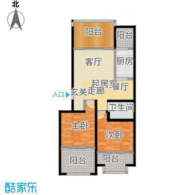 山水家园98.90㎡两室两厅户型2室2厅1卫