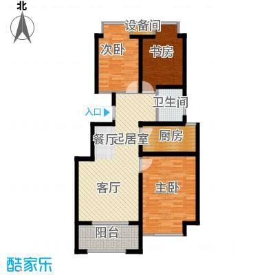 荣盛香缇澜山99.50㎡小高层G88-B户型 三室两厅一卫户型3室2厅1卫