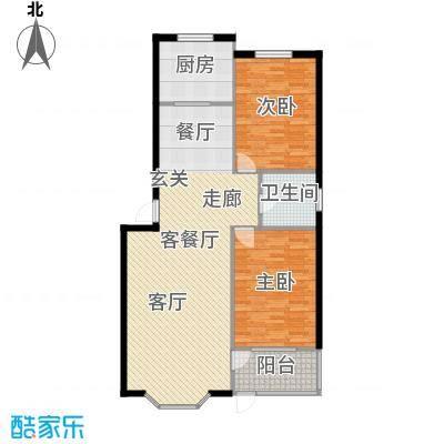 欧韵华庭105.03㎡G户型两室两厅一卫户型2室2厅1卫