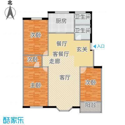 欧韵华庭135.01㎡L户型三室两厅两卫户型3室2厅2卫