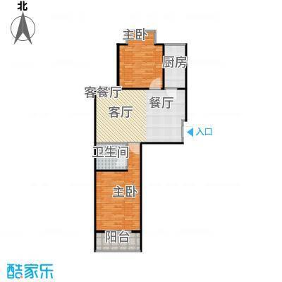 普利林景山庄84.64㎡两室两厅一卫户型