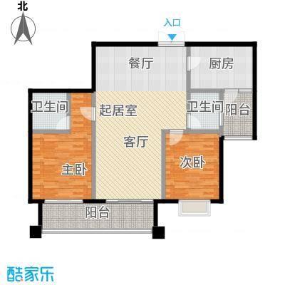 麒麟山庄104.00㎡户型2室2卫1厨