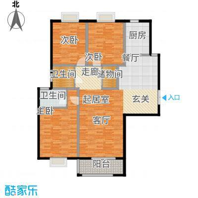 中登悦园142.16㎡4#楼A1户型3室2厅2卫户型