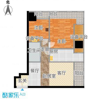 天津富力中心92.47㎡中区01户型2室2厅1卫