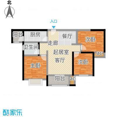 合景叠翠峰A户型标准层3 95平米户型3室2厅1卫