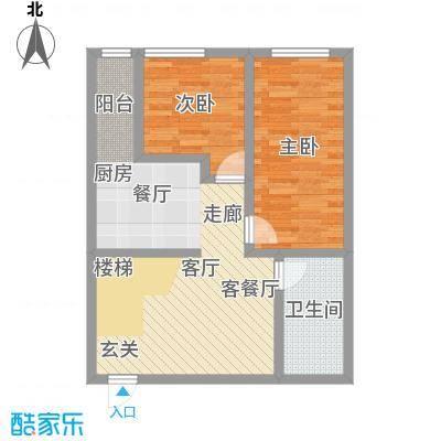 汇雄时代loft户型 LA-02 使用面积57.24平米户型