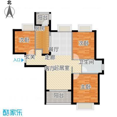 合景叠翠峰B户型图 约94平米户型3室2厅1卫