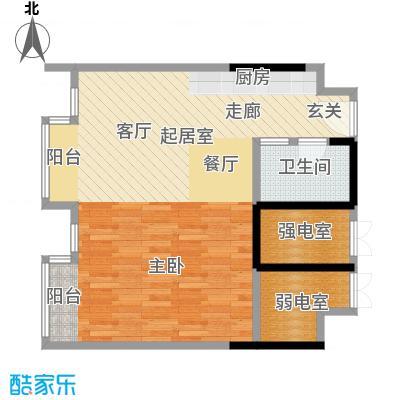 第六田园独立日一室一卫 80.15平米户型