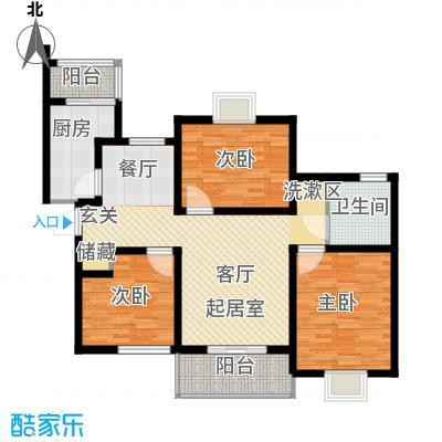 新梅绿岛苑100.00㎡房型: 三房; 面积段: 100 -110 平方米;户型