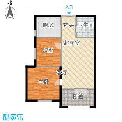 北岸七英里82.94㎡F座 两室一厅一卫 建筑面积82.94平米户型2室1厅1卫