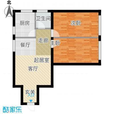 星河国阅公馆D户型2室2厅1卫1厨62.00㎡户型2室2厅1卫