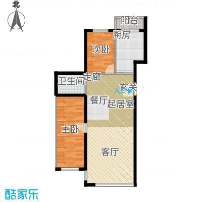 星河国阅公馆Room D两室两厅一卫 参考使用面积79.26平米户型2室2厅1卫