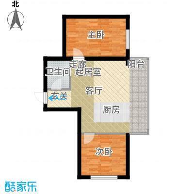 星河国阅公馆Room B 两室一厅一卫 参考使用面积58.35平米户型2室1厅1卫