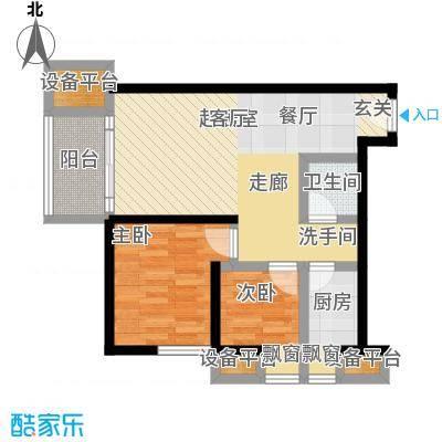 凤城一号户型2室1卫1厨
