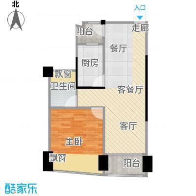 鸿洲・天玺55.00㎡D1户型1室2厅1卫