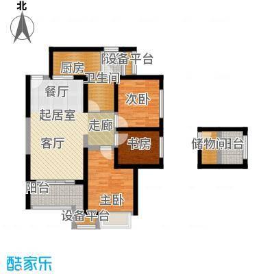 御锦城89.14㎡89.14平米两室(变三室)两厅一卫户型