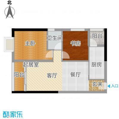 珠光高派国际公寓89.23㎡04单元户型2室1卫1厨